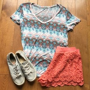 Mudd Top-Shinestar coral lace shorts medium outfit